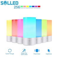 SOLLED LED Table Lamp Touch Sensor Bedside Lamp Dimmable Warm White Light & 256 RGB Color Changing Aluminum Base Desk Light
