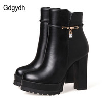 Gdgydh Fashion Crystal Ankle Boot For Women Leather Party Shoes 2017 New Autumn Winter High Heels