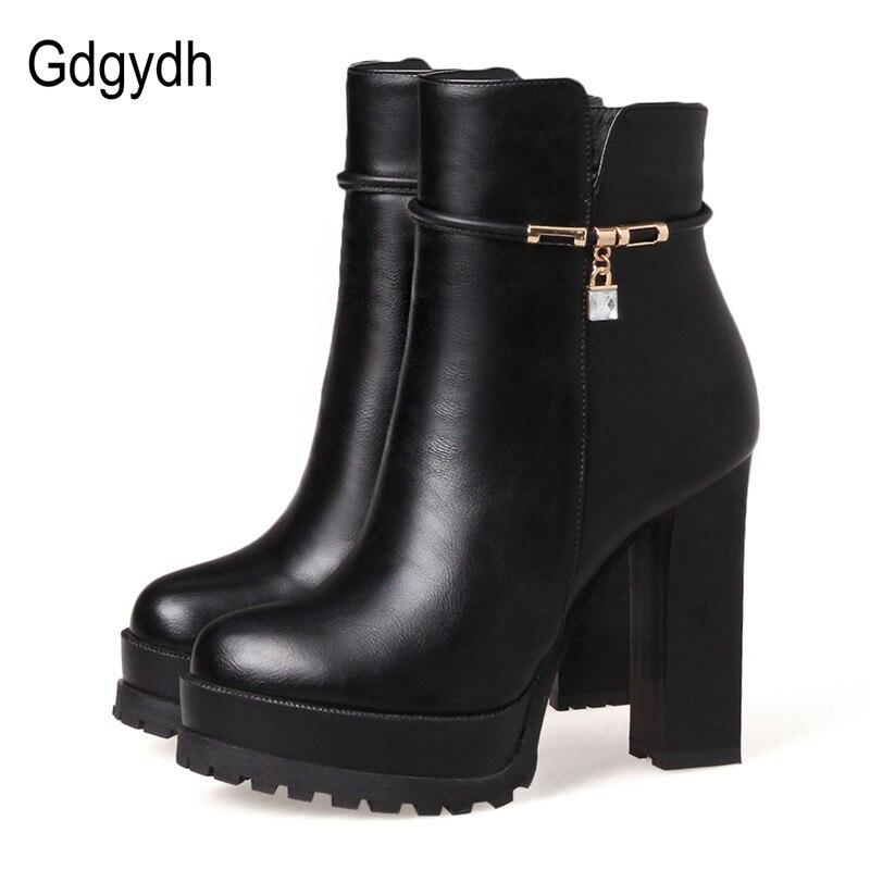 Gdgydh moda kryształowe kostki buty dla kobiet skórzane szpilki 2018 nowy jesień zimowe na wysokim obcasie buty platformy duży rozmiar 43 w Buty do kostki od Buty na  Grupa 1