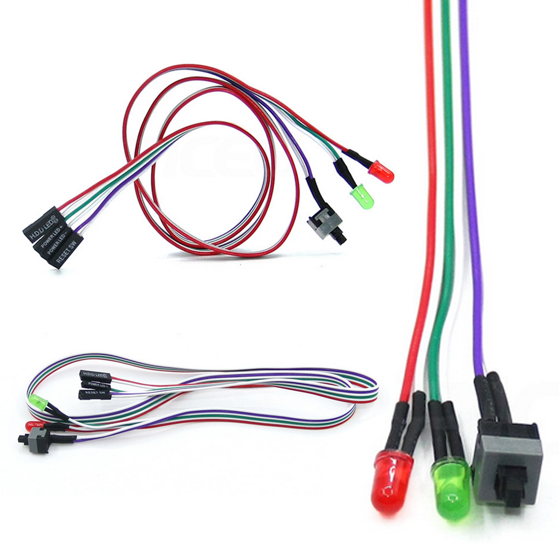Power Cable ATX PC Compute Motherboard Power Cable 2 Switch On/Off/Reset With LED Light 60 CM Gadget