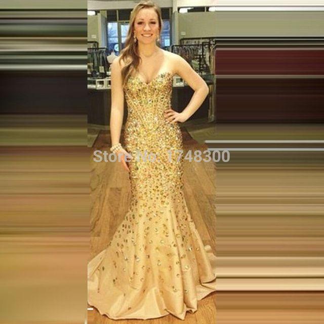 Satin Mewah Kristal Seluruh Seksi Putri Duyung Gaun Malam Panjang