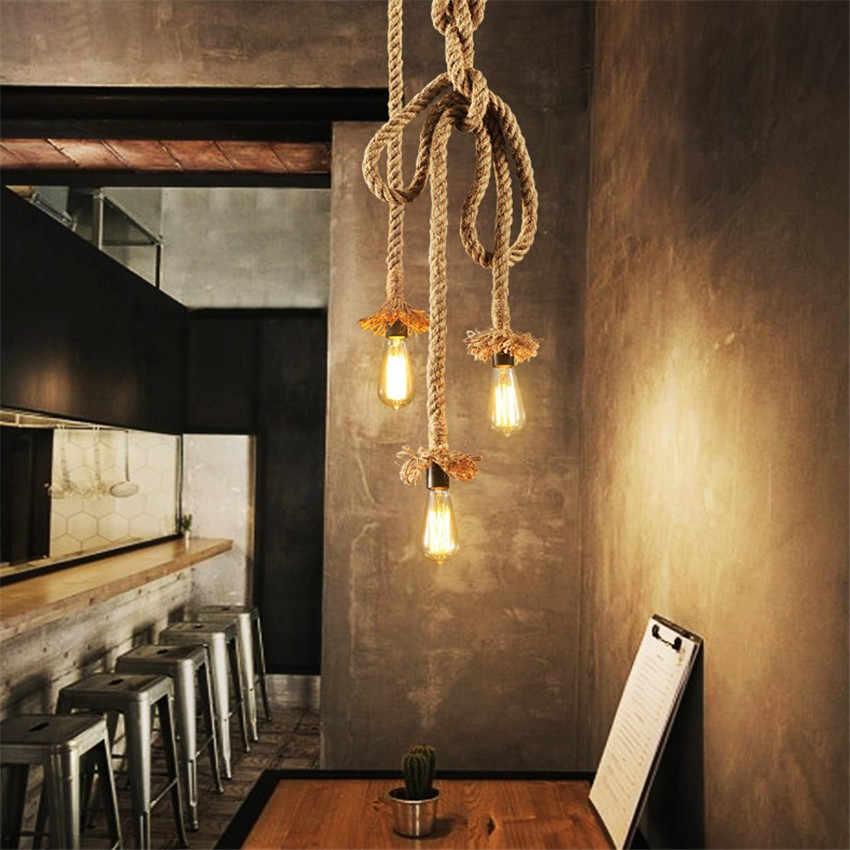 Американский подвесной светильник из пеньковой веревки, Светодиодный промышленный винтажный подвесной светильник Эдисона, декор в стиле лофт, освещение для столовой, антикварный светильник ing