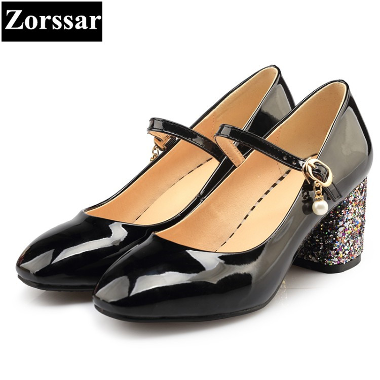 Damen Jane Pumps {zorssar} Mary Damen Ferse Heels Pu Komfortable Schuhe Dicke B High Spitze m0nN8w