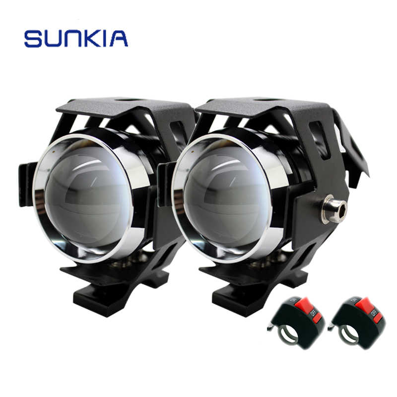 2Pcs/Lot SUNKIA LED Headlight Motorcycle Waterproof 3000LM CREE Chip U5 Motor LED Driving Fog Spot Head Light Lamp With Switch