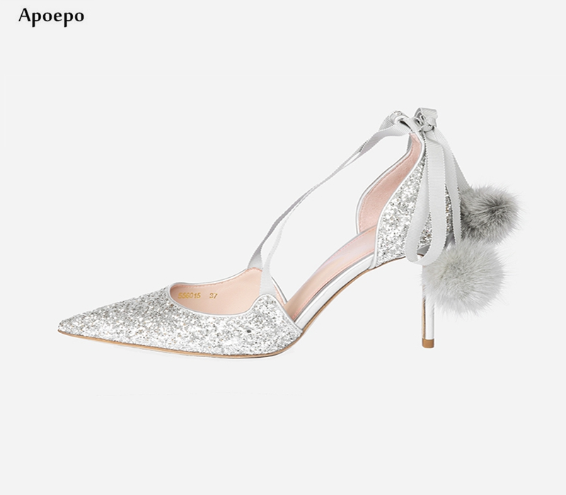 New 2018 Silver Glitter Embellished Thin Heels Shoes Sexy Pointed Toe Lace-up Woman Pumps Grey Fur Pom-pom Cutouts Shoes pom pom trim tropical swim cover up shorts