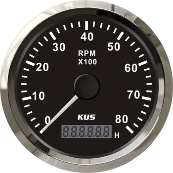 KUS 85mm Auto Marine Tachometer 0-8000RPM 12V 24V With LCD Digital Hourmeter Car Truck Boat Tacho Gauge  Red/Yellow Backlight