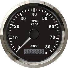 KUS 85mm Auto Marine Tachometer 0 8000RPM 12V 24V with LCD Digital Hourmeter Car Truck Boat Tacho Gauge  Red/Yellow Backlight