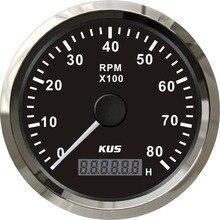 KUS 85mm Auto Marine tachometr 0 8000 obr/min 12V 24V z LCD cyfrowy Hourmeter samochód ciężarówka łódź tachometr czerwony/żółty podświetlenie