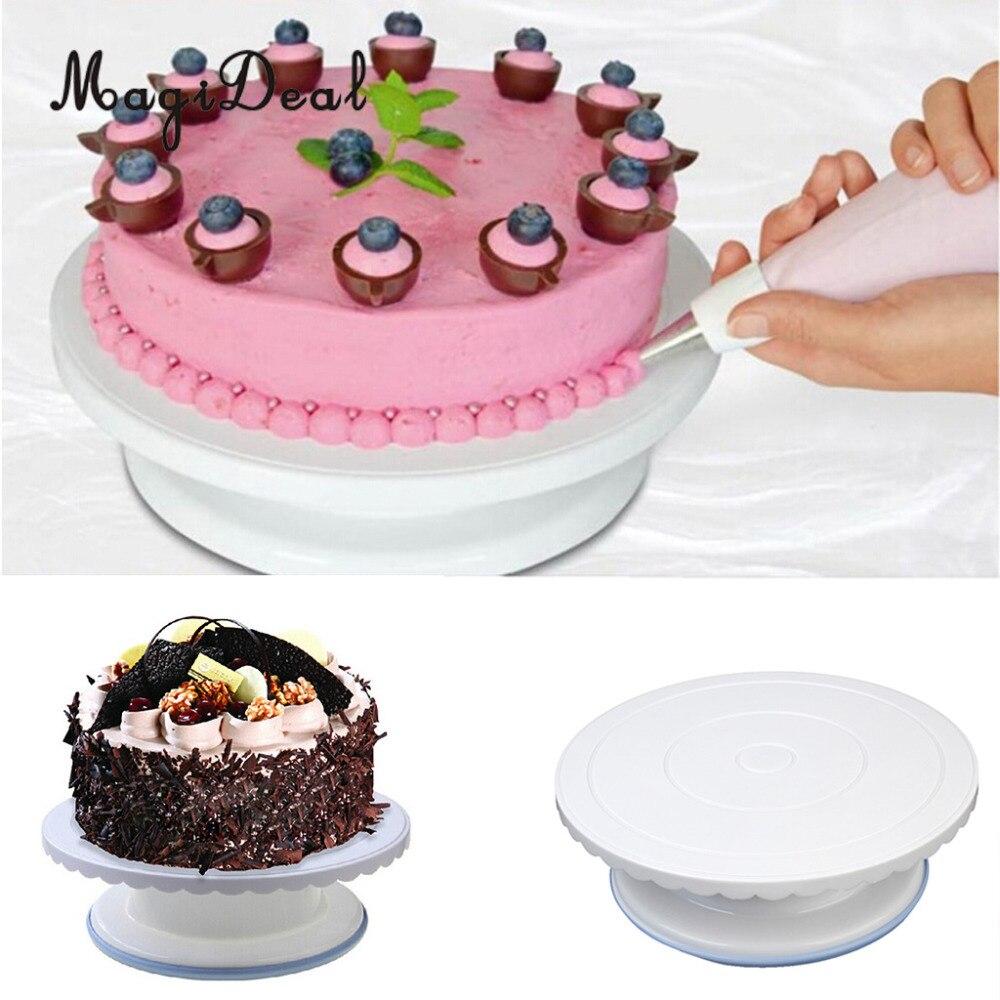 MagiDeal 28CM Round Revolving Fondant Cake Stand Platform Icing ...