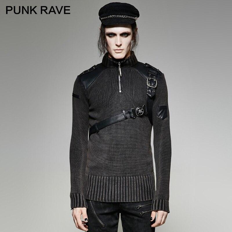 Gótico Heavy metal tachonado Conjunto jersey de cuero suéter Steampunk buen ajuste Retro militar hombres suéter PUNK RAVE M 035 - 2