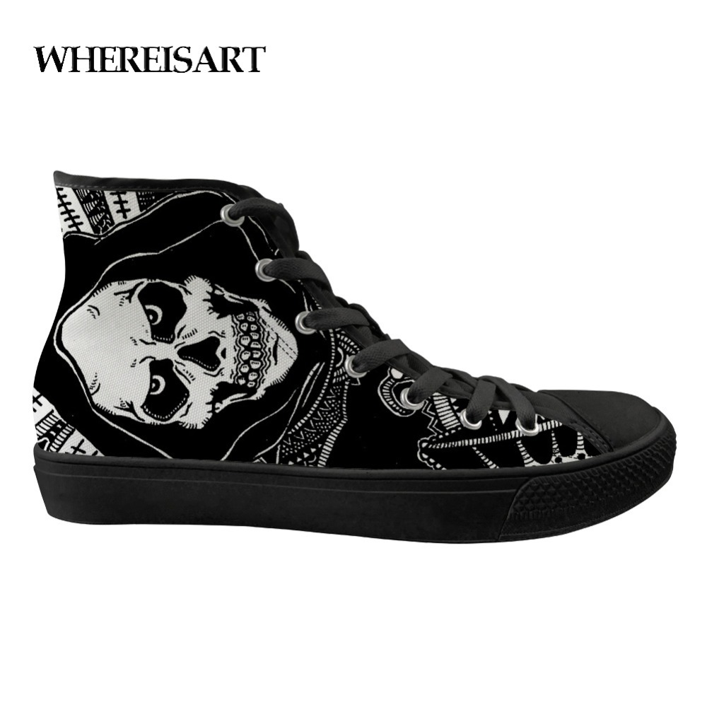WHEREISART Mens Printed Shoes Skull Black Flat Vulcanize Shoes Man Casual Lace Up Canvas Shoes High-top Sneakers Drop Shipping