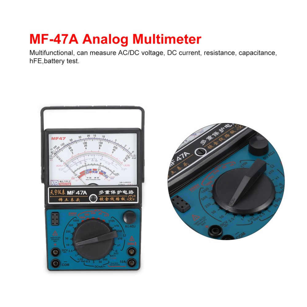 MF-47A Analog Multimeter DC/AC Voltage Current Meter Battery Test Handheld hFE Tester Multitester Buzzer Alarm Pointer