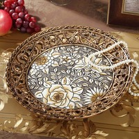 European creative pastoral hollow fruit plate resin retro home decor living room coffee table dining table new home fruit plate