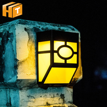 High Quality Solar Lamp RGB Color Changeable Outdoor Garden Wall Light Pathway Porch Lights 2pcs 4pcs/lot.