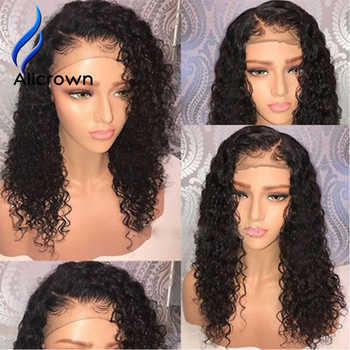 ALICROWN Curly Wig Lace Front Human Hair Wigs With Baby Hair Brazilian Remy 13*4 Lace Wigs Pre-Plucked Bleached Knots 130Density