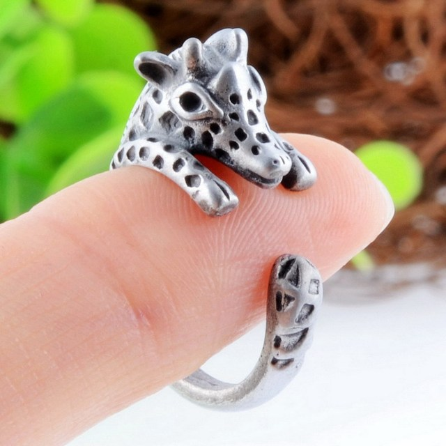 Cute Kawaii Giraffe Animal Ring For Lovers Friends Antique Gold Silver Punk Resizable Opening Ring Wholesale For Women and Men