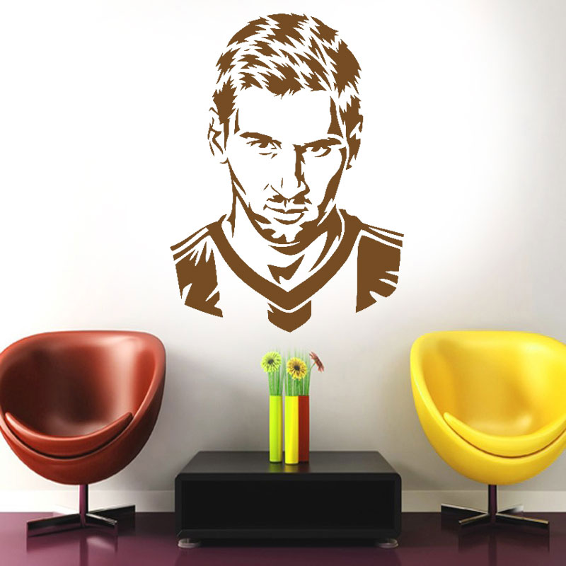 Football Player Messi Silhouette Wall Decal Home Decoration For Boys Room Vinyl Adhesive Soccer Face Art Decals E676 In Stickers From Garden On