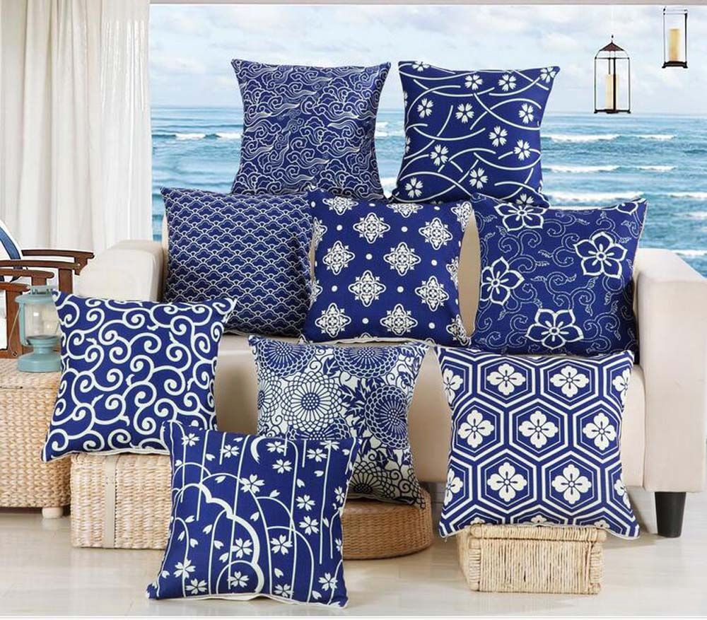 Blue and white series floral geometric cushion cover for Indian home decor stores