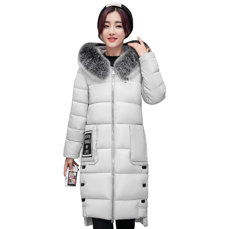 Snow Wear Winter Women Jacket Cotton Coat Fur Collar Hood Parka High Quality Fashion Zipper Long Jacket Thick Femme Outwear 4L90 snow wear 2017 high quality winter women jacket cotton coats fur collar hooded parkas fashion long thick femme outwear cm1346