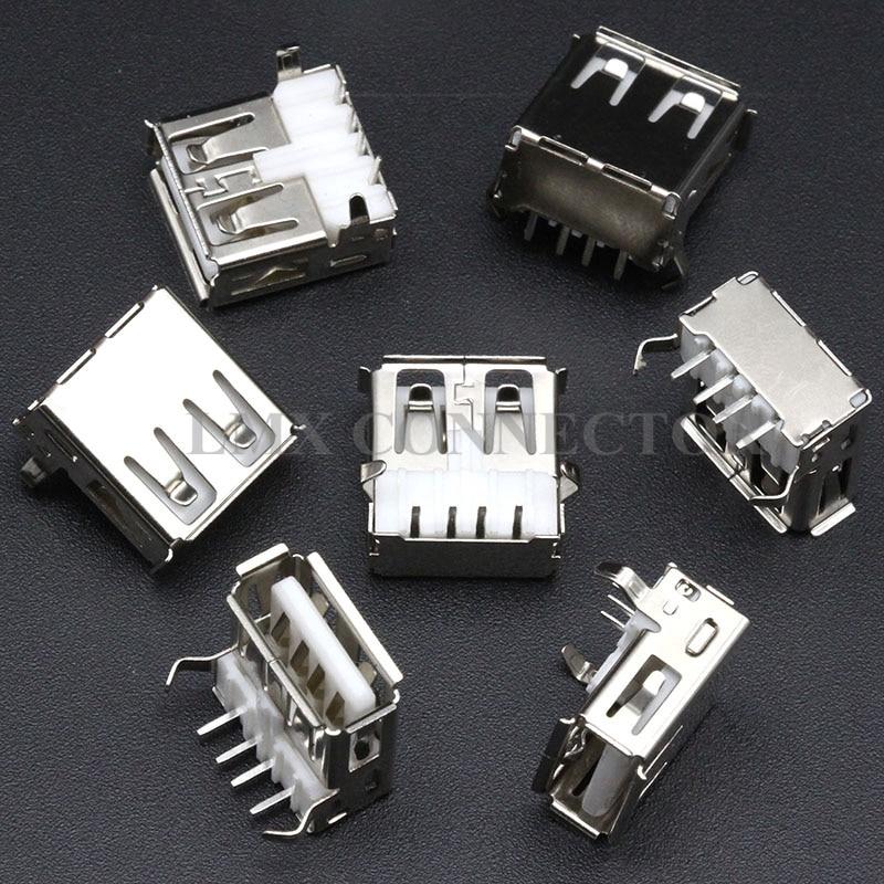 50PCS USB Type A Female Socket A//F 90 degree Female Socket