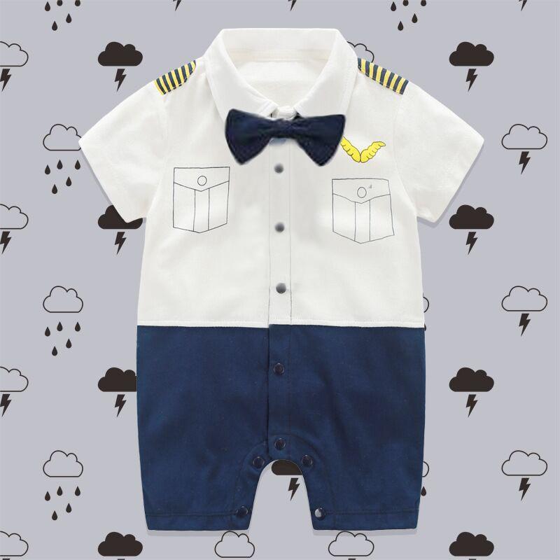 Little Pilot Boy Clothing Soft Cotton Newborn Baby Rompers Tie Gentleman Suit Bow Leisure Body Suit Clothing Toddler Jumpsuit dedo mg 381 british gentleman bow tie black