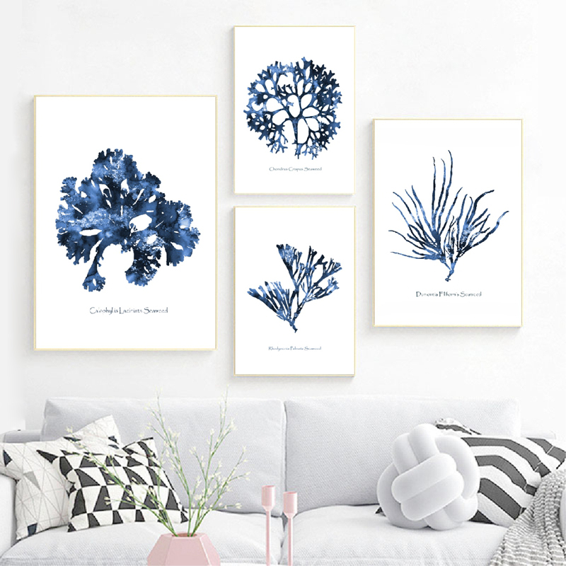 Hamptons Wall Art Prints Sea Coral Posters Coastal Beach Nautical Art Canvas Painting Watercolor Blue Pictures Home Wall Decor
