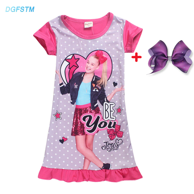 2018 Jojo Siwa Silk Dresses For Girls Princess Birthday Party Costume Lace Dress Kids Clothes Unicorn Pajamas Children Clothing