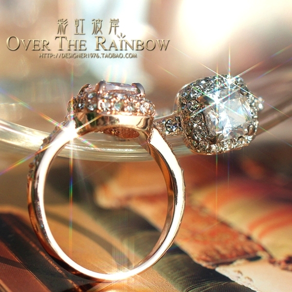 Princess princess square drill series ring diamond female rose gold platinum married artificial drill zircon ring accessories