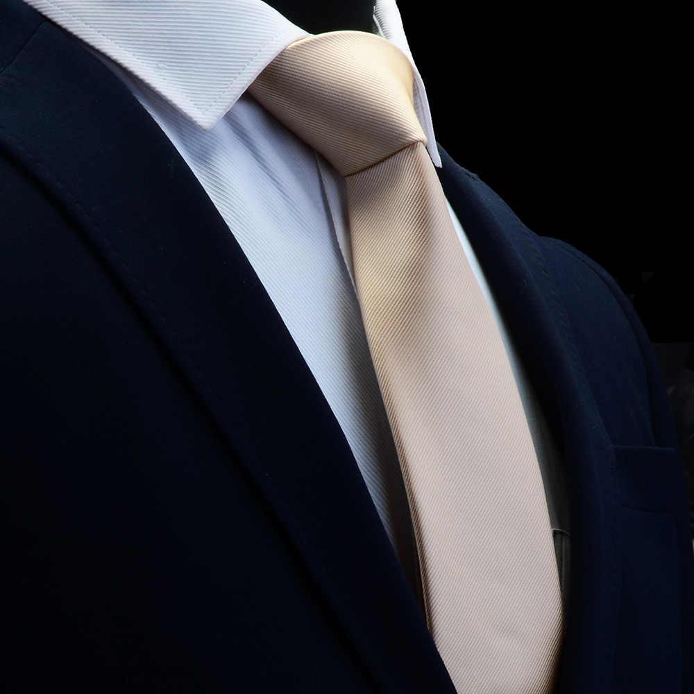 GUSLESON Kaliteli Jakarlı Dokuma Ipek Katı Kravat Erkekler için 8 cm Klasik Düz Kravat Kırmızı Lacivert Altın Sarı Bağları düğün Iş