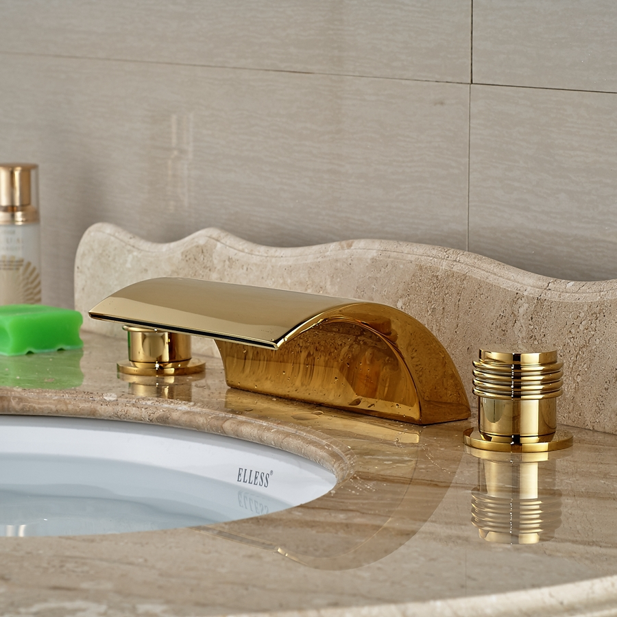 Wholesale And Retail Brand NEW Deck Mounted Golden Brass Waterfall Basin Faucet Widespread Vanity Sink Mixer pastoralism and agriculture pennar basin india