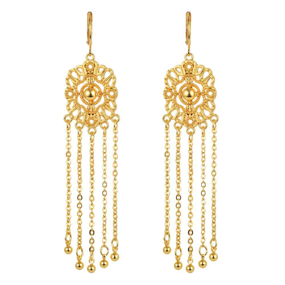 Arabic Religious Women Gold-color Long Tassel Drop Earrings Jewelry