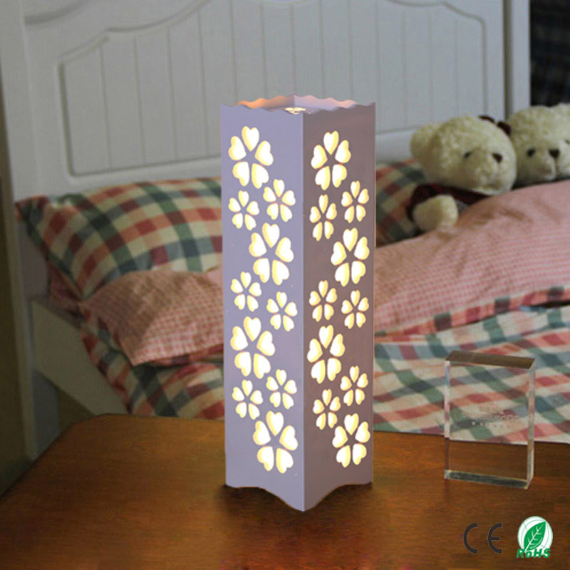 ФОТО The Flowers Through-Carved E27 Table Lamps, Quartet ivory White LED Abajur For Sitting Room Study Bedroom