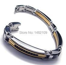 Men's Stainless Steel Bracelet Link CZ Silver Gold Black Biker current male boys accessories