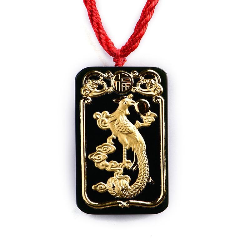 Koraba bijoux fins 24 K or Phoenix incrusté Wada Jade pendentif corde collier de mode tempérament accessoires cadeaux livraison gratuite