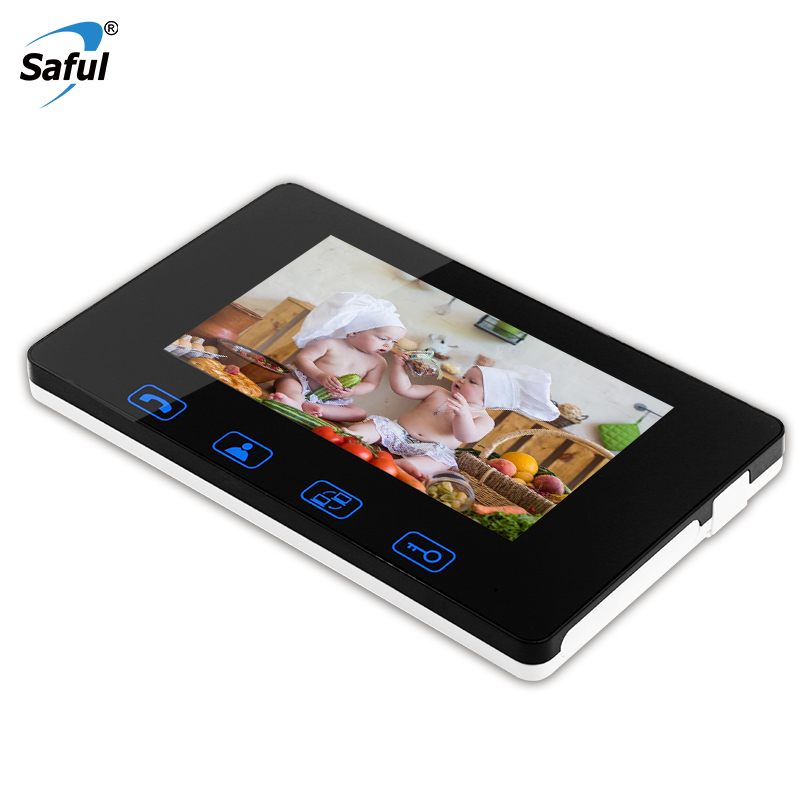 Saful 7 Inch Indoor Monitor Video Door Phone Doorbell Intercom System Video Recording Photo Taking Wall Mounting