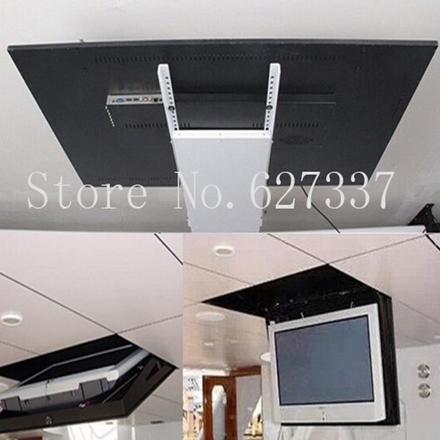 motorized electric hidden flip down false ceiling led lcd tv lift mount hanger holder remote