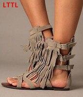 Grey Black Tassels Flat Sandals For Women Buckles Strap Open Toe Cover Heel Fringed Sandal Booties