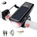 FTW велосипедный фонарь + колокольчик + внешний аккумулятор + солнечная батарея + USB Перезаряжаемый велосипедный передний фонарь для езды на в...