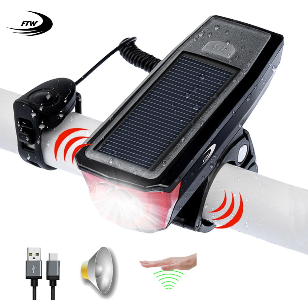 Luz de bicicleta FTW + campana + Banco de energía + Energía Solar + USB recargable bicicleta lámpara de luz delantera ciclismo led linterna linterna