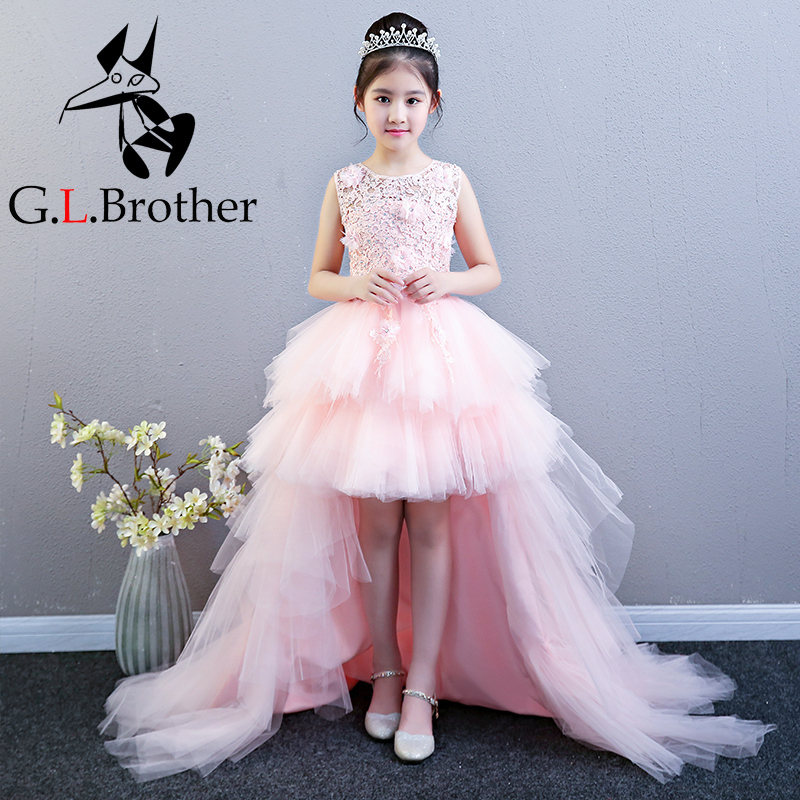 Detachable Long Trailing Flower Girl Dresses For Wedding Layered Princess Birthday Dress Ball Gown Lace Up Evening Dress B195
