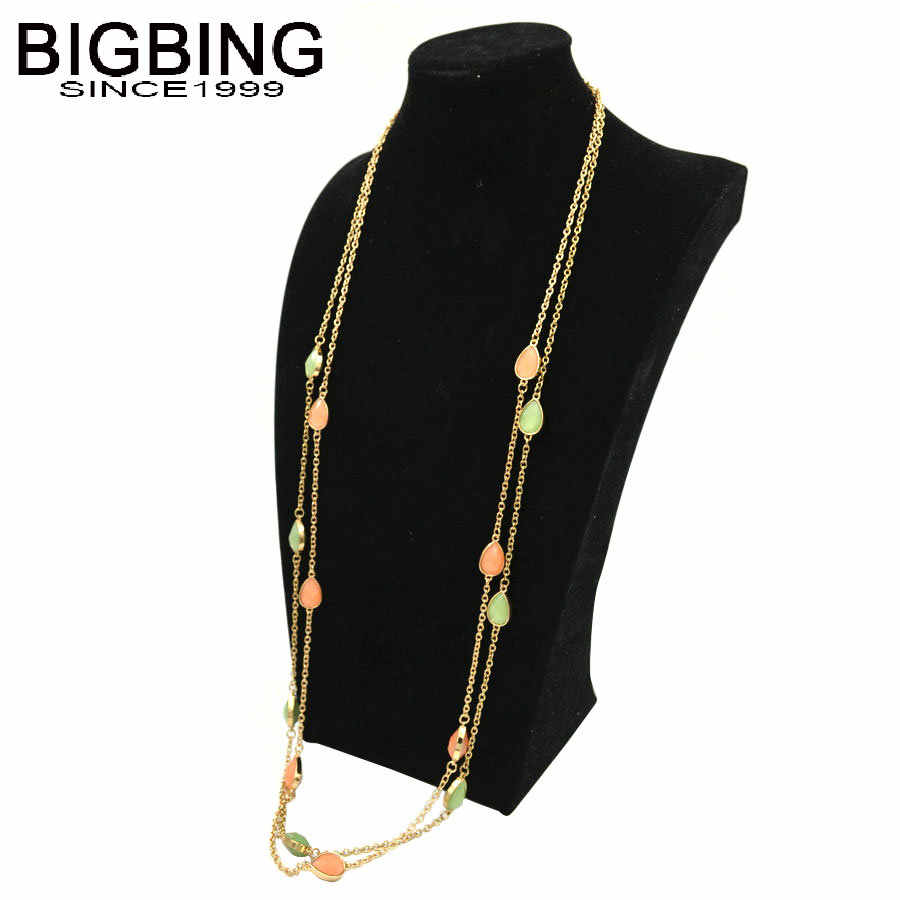 BIGBING fashion jewelry fashion green orange crystal long chain necklace fashion necklace women nacklace fashion jewelry T022