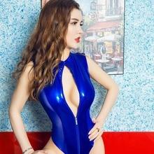 Женский цельный купальник из искусственной кожи на молнии спереди, боди, Клубная одежда, сексуальные Клубные костюмы, купальный костюм для спальни, S-4XL
