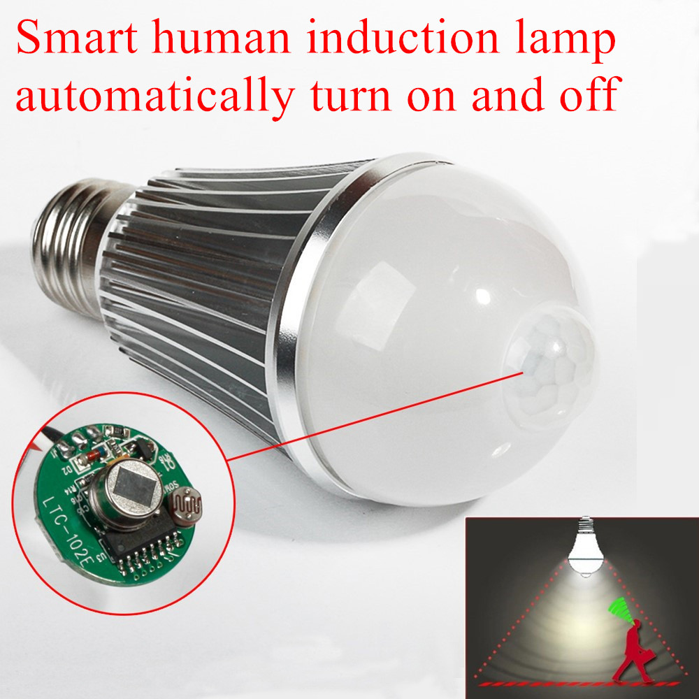 7W 9W Smart Human Induction Lamp E27 LED Bulb PIR Infrared Body Sensor Light AC85~265V Motion Detection Auto