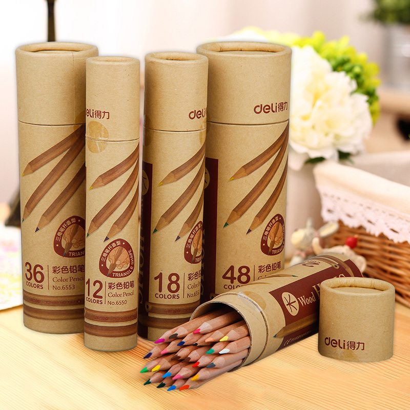 36/48 Colored Pencils Nature wood Non-toxic triangle pole Pencil Stationery Office School supplies Gift for kids