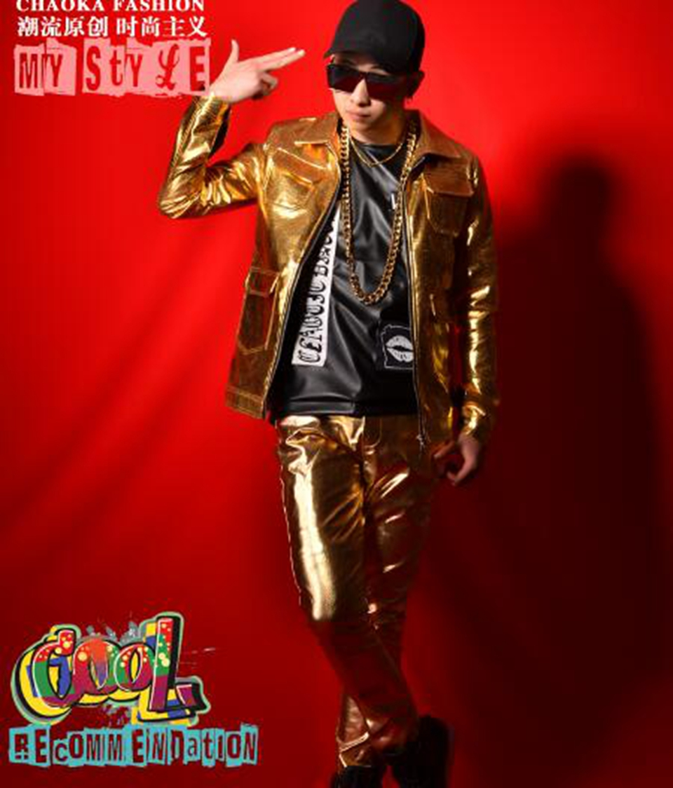 Male and American Korean version of the fashion trend of the host singer stage hip hop nightclub gold multi pocket suit. / M 2xL
