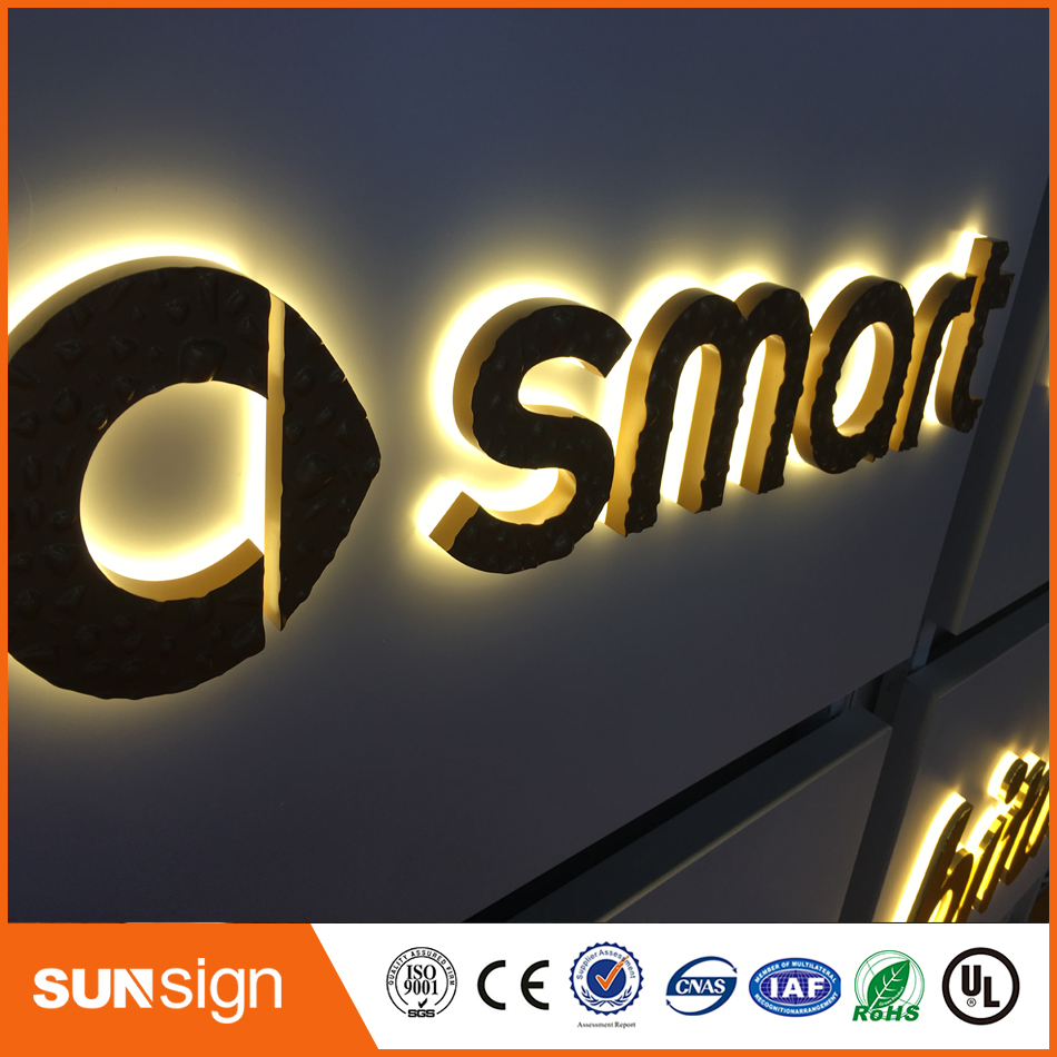 Brushed Stainless Steel And Metal Outdoor Backlit Letters
