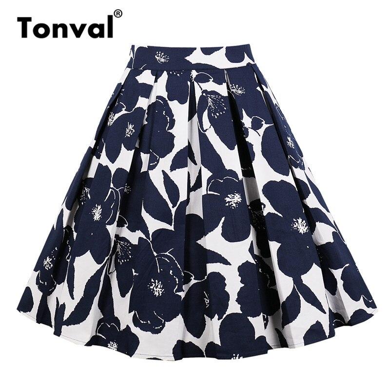 Tonval Vintage Pleated Skirt Navy Blue Floral Print High Waist Skirts Womens Retro School Summer 2019 Skirt