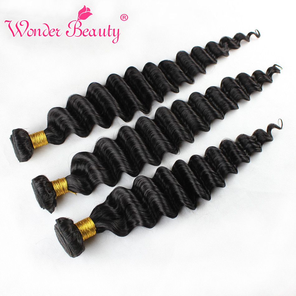 Wonderbeauty Brazilian Deep Wave Hair Bundles Deal 100 NonRemy Human Hair Extension thick full 4Bundles Available