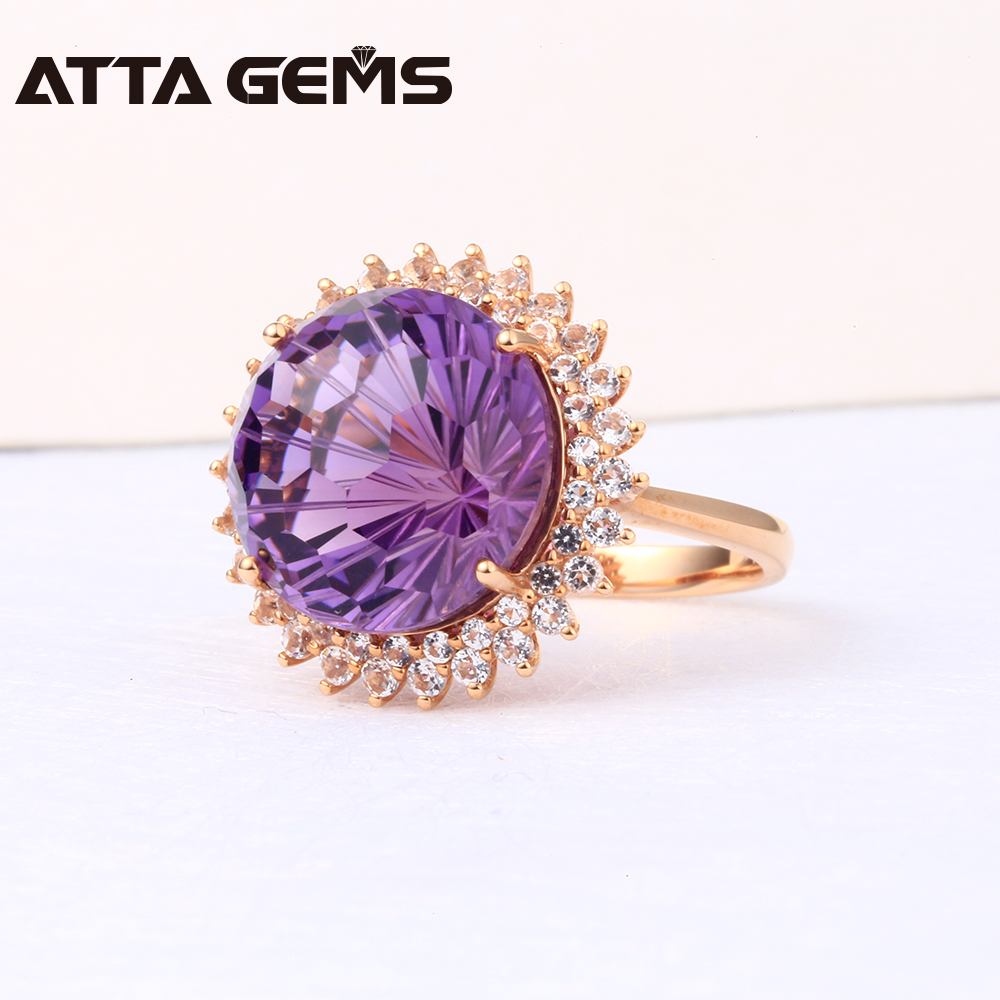 Natural Amethyst Real 18K Rose Gold Women Wedding Ring 13 Carats Amethyst  Firework Cutting With Diamond Ring Jewelry Brand -in Rings from Jewelry ...