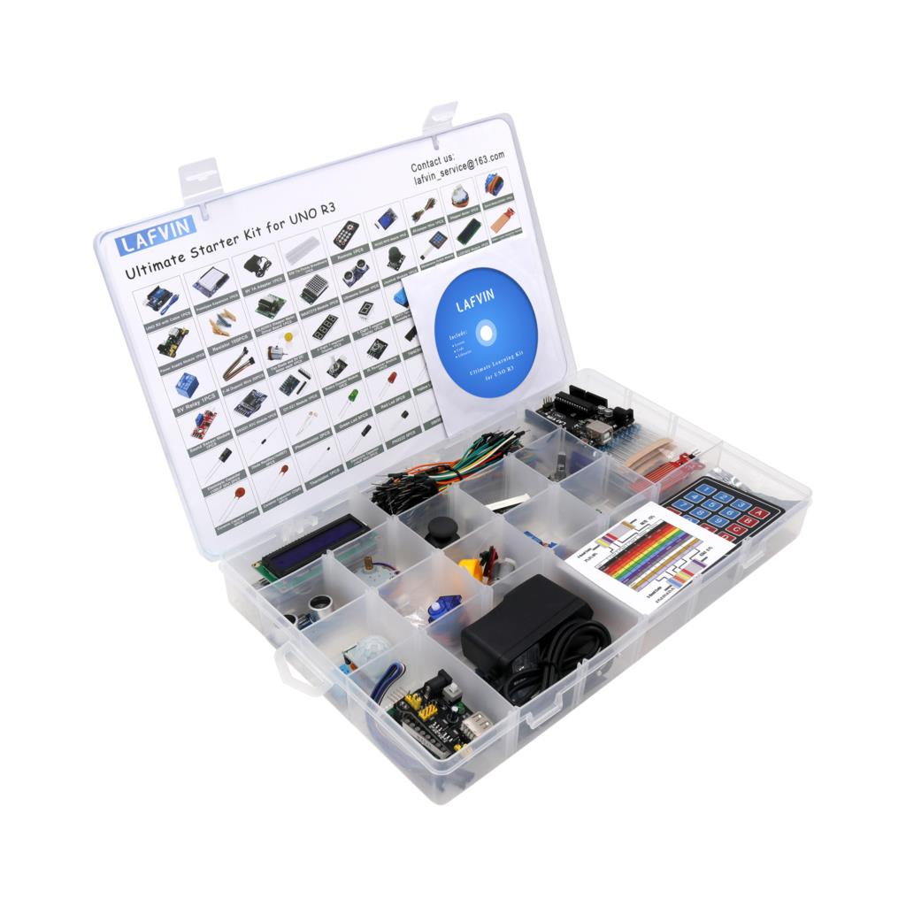 LAFVIN UNO R3 Complete Starter Kit include LCD1602 IIC Ultrasonic Sensor Jumper wire for Arduino with